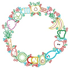 Wreath Of Food embroidery design