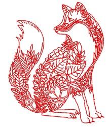 Decorative Plant Fox embroidery design