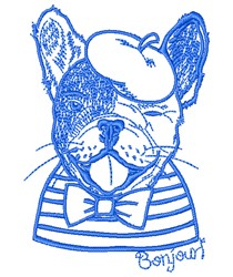 French Bulldog Outline embroidery design