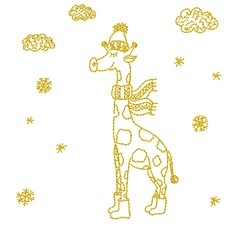 Winter Giraffe embroidery design