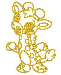 Kawaii Giraffe Outline embroidery design