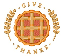 Give Thanks Pumpkin Pie embroidery design