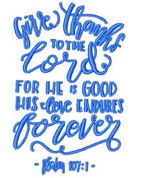 His Love Endures Forever embroidery design