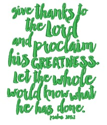 Proclaim His Greatness embroidery design