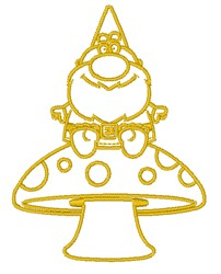 Gnome & Mushroom Outline embroidery design