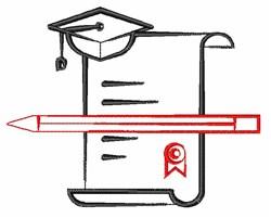 Graduation Diploma & Cap embroidery design