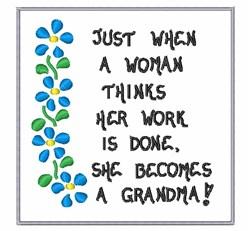 She Becomes A Grandma embroidery design