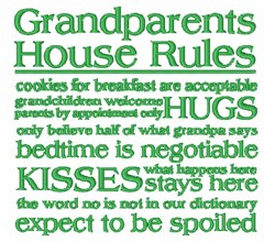 Grandparents House Rules embroidery design