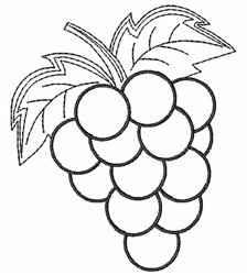 Grape Bunch Outline embroidery design