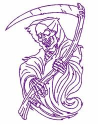 Creepy Grim Reaper Outline embroidery design