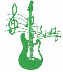 Guitar & Musical Staff embroidery design