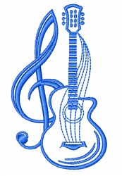 Guitar & G Clef embroidery design