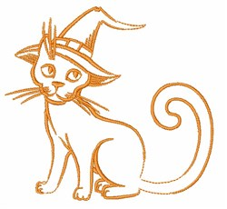 Halloween Cat Outline embroidery design