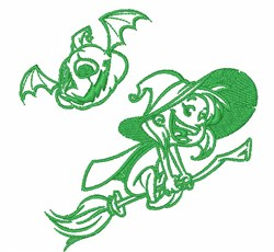 Witch & Pumpkin Outline embroidery design