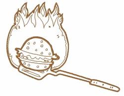 Grilling Hamburger Outline embroidery design