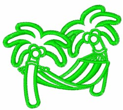 Hammock & Palm Tree Outline embroidery design