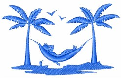 Relaxing Hammock Silhouette embroidery design
