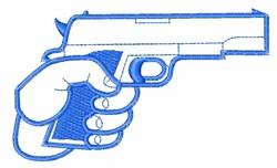 Hand Gun Outline embroidery design