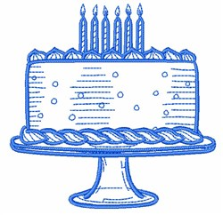 Birthday Cake Outline embroidery design