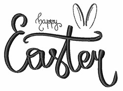 Happy Easter Bunny Ears embroidery design
