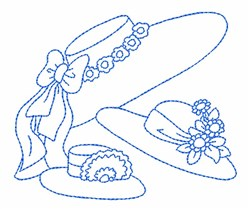 Fancy Hats Outline embroidery design