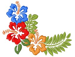 Hibiscus Corner Border embroidery design