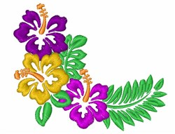 Decorative Hibiscus Corner embroidery design