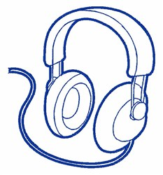 Headphone Outline embroidery design