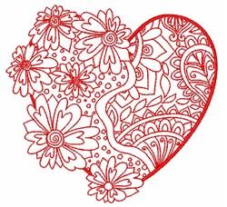 Redwork Decorative Heart embroidery design