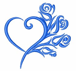 Heart & Roses Outline embroidery design
