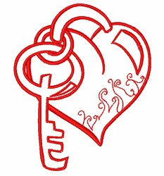 Heart Lock & Key embroidery design