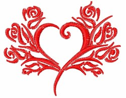 Beautiful Heart & Roses Outline embroidery design