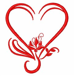 Lotus Flower & Heart embroidery design
