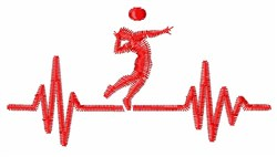 Volleyball Heartbeat embroidery design