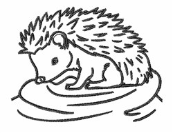Cute Hedgehog Outline embroidery design