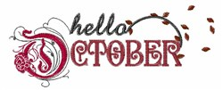 Hello October embroidery design