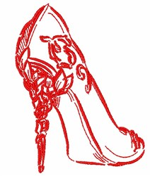 Artistic High Heel Outline embroidery design