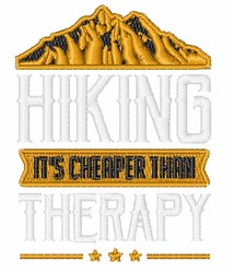 Hiking Is Cheaper Than Therapy embroidery design