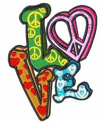 Hippie Love embroidery design