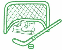 Hockey Equipment Outline embroidery design