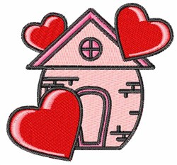 Cartoon Valentines Day House embroidery design
