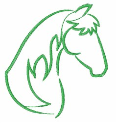 Horse Profile Outline embroidery design