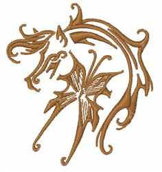 Artistic Horse & Butterfly embroidery design
