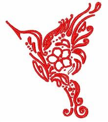 Artistic Floral Hummingbird embroidery design