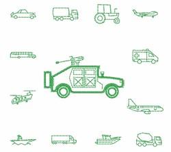 Transportation Outlines embroidery design