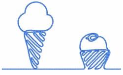 Ice Cream & Cup Cake embroidery design