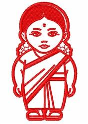 Hindu Girl Outline embroidery design