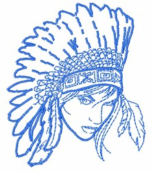Beautiful Native American Woman embroidery design