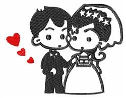 Kawaii Wedding Couple embroidery design