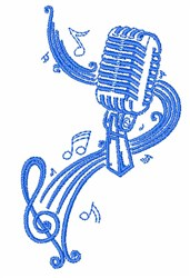 Oldies Microphone Outline embroidery design